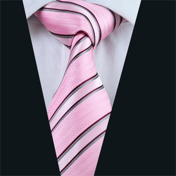 Men Tie Pink Stripe Neck Tie Silk Jacquard Ties For Men Business Wedding Party
