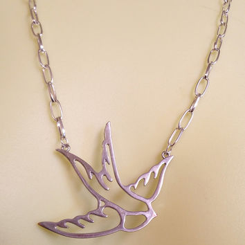 bird cutout necklace silver chain animal handmade jewelry #jewls5004