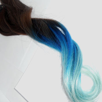 B L U E B E R R Y HAZE/////Pastel Blue Ombre Hair Extension - Weft Clip Extensions - Ombre - Free People -18inch Brown