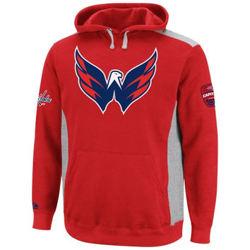 Majestic Washington Capitals Hat Trick Pullover Hoodie - Red/Ash