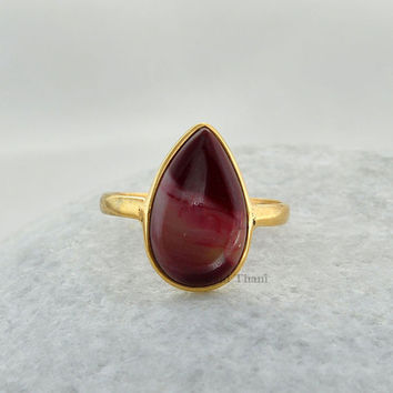 Mookaite Beautiful Pear 10x15mm Micron Gold Plated 925 Sterling Silver Bezel Ring # 4749