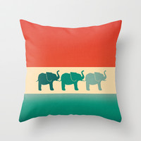 Three Elephants - Burnt orange, cream & teal Throw Pillow by Perrin Le Feuvre