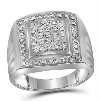 Sterling Silver Men's Round Diamond Square Frame Cluster Ring 1/10 Cttw - FREE Shipping (US/CAN)