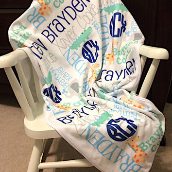 Personalized Baby Blanket~Baby Name Blanket~Monogrammed Baby Blanket~Personalized Baby Shower Gift~Swaddling Blanket~Birth Announcement