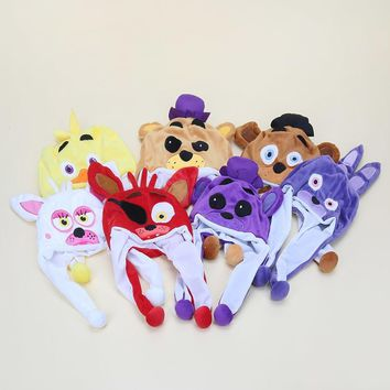 At  Plush Hat Toy  Freddy Fazbear Foxy Bonnie Chica Beanie Hat for Children Warm stuffted Fluffy cap