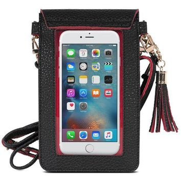 CREYDC0 MoKo Cell Phone Bag, PU Leather Crossbody Bag Mini Phone Pouch with Shoulder Strap for iPhone X, 8, 8 Plus, 7 Plus, 6S Plus, 6 Plus, 7, 6S, 6, 5S, 5C, Samsung S8, S7 Edge, S6, J3, J7, Black+Red