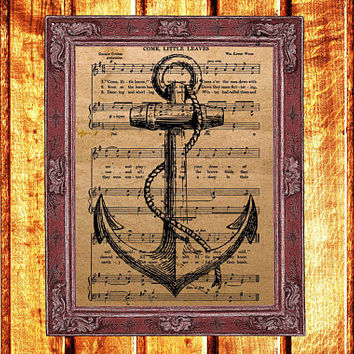 Vintage anchor print Marine poster Nautical decor Steampunk art