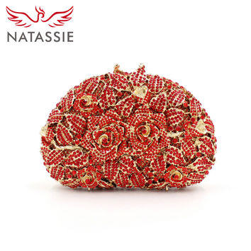 NATASSIE A Bouquet of Roses Shell Shape Crystal Clutches Romantic Evening Bag Diamonds Party Handbag LX025