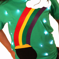 Light Up St Pattys Day T-Shirt - Rainbow!
