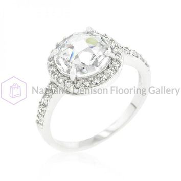Halo Style Faceted Engagement Ring (size: 07) R08337R-C01-07
