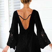 Black Bell Sleeve V-Neck with Crochet Patch Backless Romper