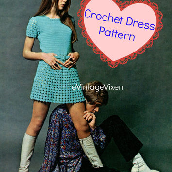 Sirdar 8005 Instant Download 1960s Crochet Pattern Lace Mini Dress Sexy Crochet Dress Clubbing Dress Party Dress Festival Groovy