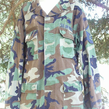 80s Vintage US Military Air Force Camouflage Jacket Camoflage Service Badges