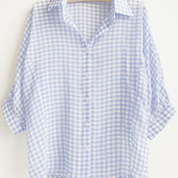 Plaid Shirt Collar Half Sleeve Chiffon Blouse