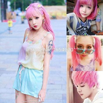 ac PEAPO2Q 2017 Fashion Ladies & Men's Beauty Hair Care Permanent Light Pink Hair Dyed Frost Sunflower Wind Hair Color Sharon Hair Dyeing