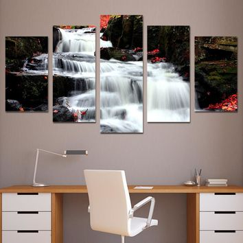 5 piece canvas art paintings white waterfall wall art on canvas Framed UNframed