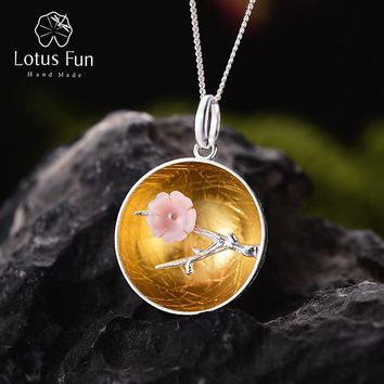 Lotus Fun Real 925 Sterling Silver Natural Shell Handmade Fine Jewelry The Aroma of Wintersweet Pendant without Necklace Women