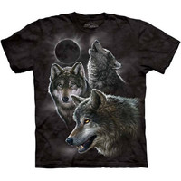 ECLIPSE WOLVES T-Shirt The Mountain Wolf Howling At Moon Black Night S-3XL NEW