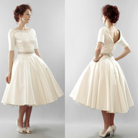 The Christy - silk duchess satin short wedding dress