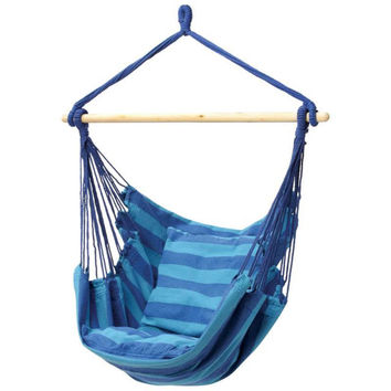 Outdoor hanging chair-hammock style-blue