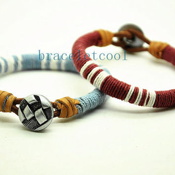 simple style cotton rope bracelet cuff, men's bangle cuff, women's leather bracelet, gift  RC3