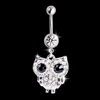2016 new white rhinestone owl dangling pendant barbell navel belly stud body piercing jewelry belly button rings ES2277
