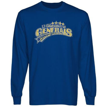 LSU Alexandria Generals Distressed Primary Long Sleeve T-Shirt - Royal Blue