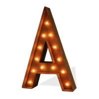 """12"""" Letter A Lighted Vintage Marquee Letters (Modern Font/Rustic)"""
