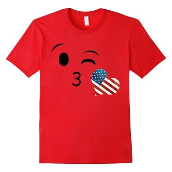 Kissing Heart Emoji US Flag Shirt Cute Girly Fourth Of July