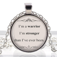 Song Lyrics Quote Necklace - Music Jewelry - Quote Word Pendant - Demi Lovato Warrior Silver Gifts for Her