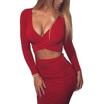 Women's Sexy Long Dress Sleeve Cut-Out Bandage Bodycon Clubwear Midi Dress