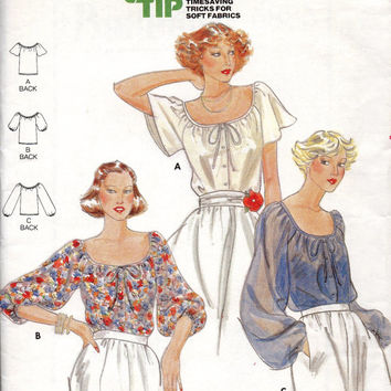 Butterick 5885 Sewing Pattern Uncut FF Scoop Neck Peasant Blouse Boho Hippie Style Full Blouson Sleeves Button Front Romantic Shirt Bust 34