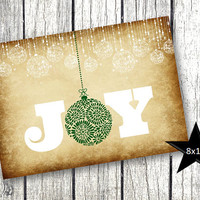 Christmas Picture Decor Holiday Printable Picture Joy vintage rustic background with green and white holiday ornaments 8x10