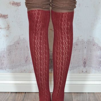 Merlot and Brown Slouchy Two Toned Boot Socks
