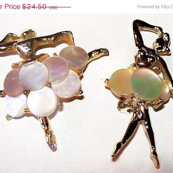 CIJ Sale Two Ballerina Dancer Pins Mother Of Pearl MOP Gold Metal Iridescent Color Vintage