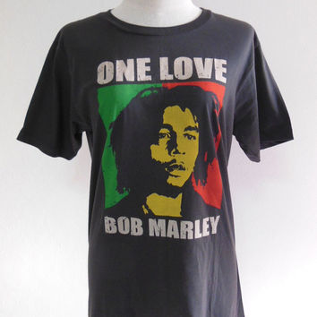 Bob Marley Shirt One Love Rasta Reggae Rock Punk -- Music Tee Shirt Black T-Shirt Women T-Shirt Men T-Shirt Music T-Shirt Size M