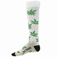 LEAVES Novelty Socks Marijuana weed pot leaf be happy smoking joint bong