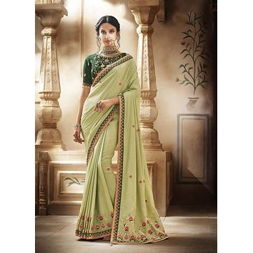 Pista and Emerald Green Embroidered Indian Silk Wedding Ceremony Sari - SS1056