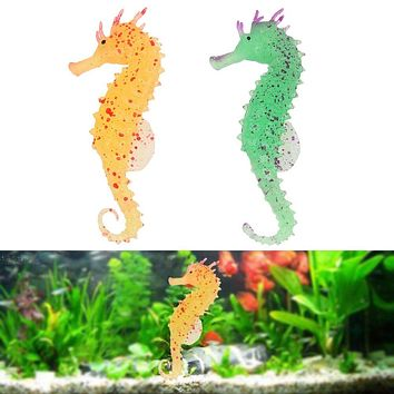 Artificial Aquarium Silicone Sea Horse Hippocampus Ornament Fish Tank Jellyfish Decor