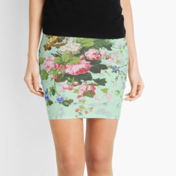 Vintage floral rose flowers print pencil skirt antique roses pattern on a pretty mint green color background preppy hipster straight skirt