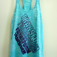 """Medium Teal / Turquoise Women's """"TRANSFORM"""" Crossfit/ Fitness / Workout Tank Top"""