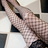 Sock Dreams - Lace Top Fencenet Thigh High - Unique Colorful Socks