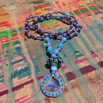 Trippy Flower and Mushroom Necklace