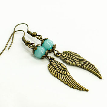 Angel wing earrings Gothic jewelry Long Blue earrings Boho jewelry Statement earrings Tribal Handmade jewelry Vintage jewelry Gift for her