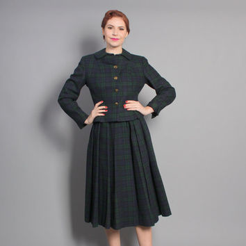 50s PLAID Skirt SUIT / GREEN & Navy Wool Tartan Pleats, s