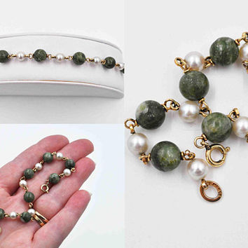 "Vintage Krementz Green Chrysoprase & White Pearl Bracelet, 14K Yellow Gold Filled, Wired Links, 6 5/8"", Small Wrist Size #c424"