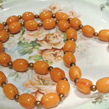 Bakelite Necklace Butterscotch Necklace Strand Bead Beaded Opera Length Circa 1950s Retro Mad Men Mid Century Jewelry Gold Tone Spacers