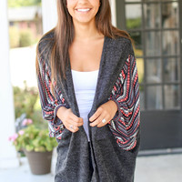 Wide Arm Aztec Cardigan - Charcoal