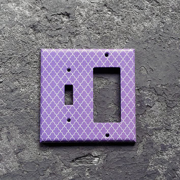 Lavender Light Switchplate cover - Decorative combination switch plate. Purple, 2 gang - 1 toggle /1 Decora , Bathroom, Kitchen, home decor