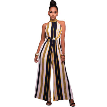 Yellow Vertical Stripe Sleeveless Women Jumpsuit with Gold Belt